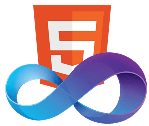 Logo de Visual Studio surplombant le logo d'HTML5