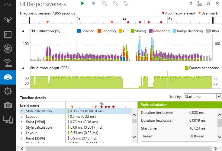 Capture d'écran de l'onglet 'UI Responsiveness' des outils de développement d'Internet Explorer 11
