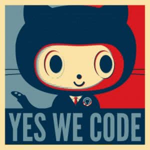 Un dessin représentant une chimère chat/poulpe, pasticheant la campagne «Yes We Can» de Barack Obama