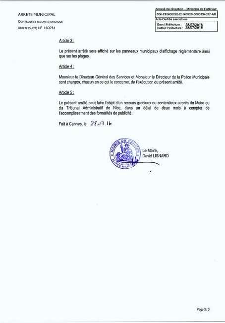 Arrêté municipal de David Lisnard interdisant le port du burkini