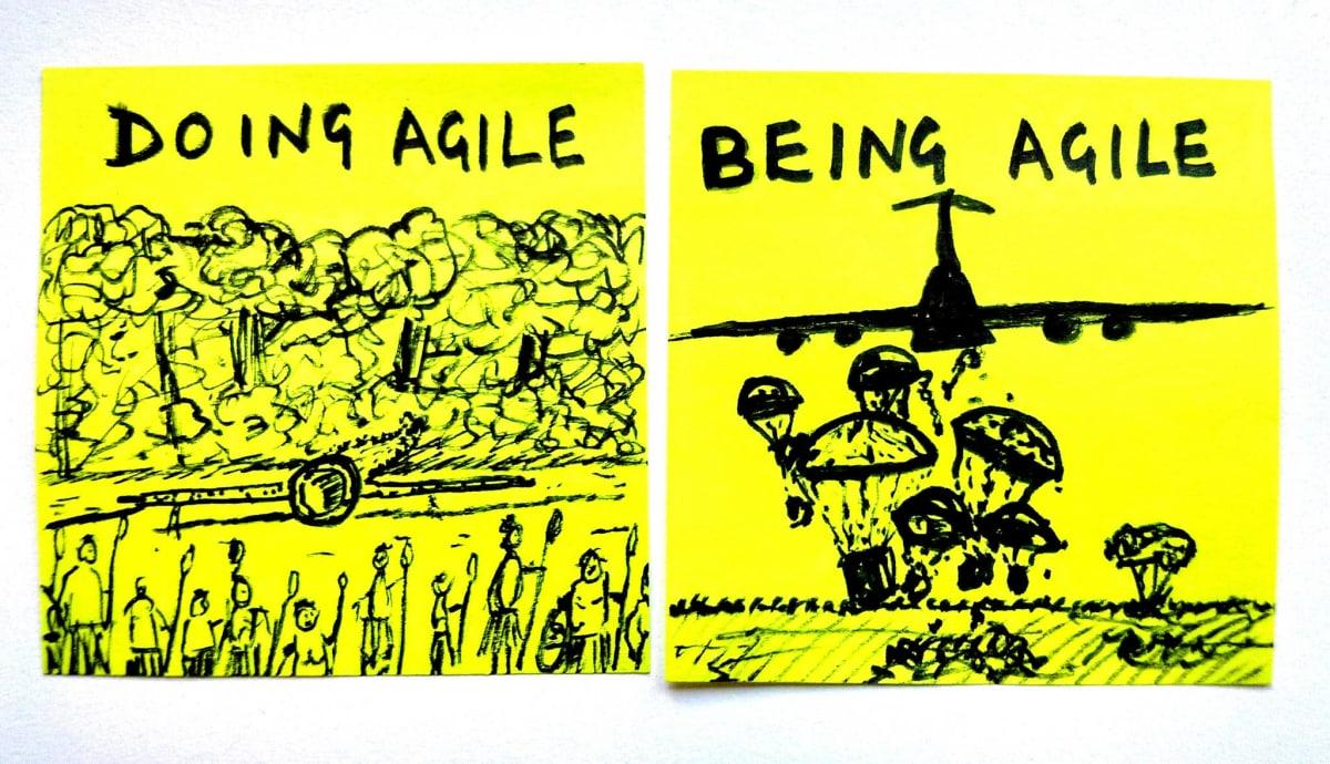 Deux post-its, comparant l'Agile façon Cargo Cult et les vraies livraisons successives