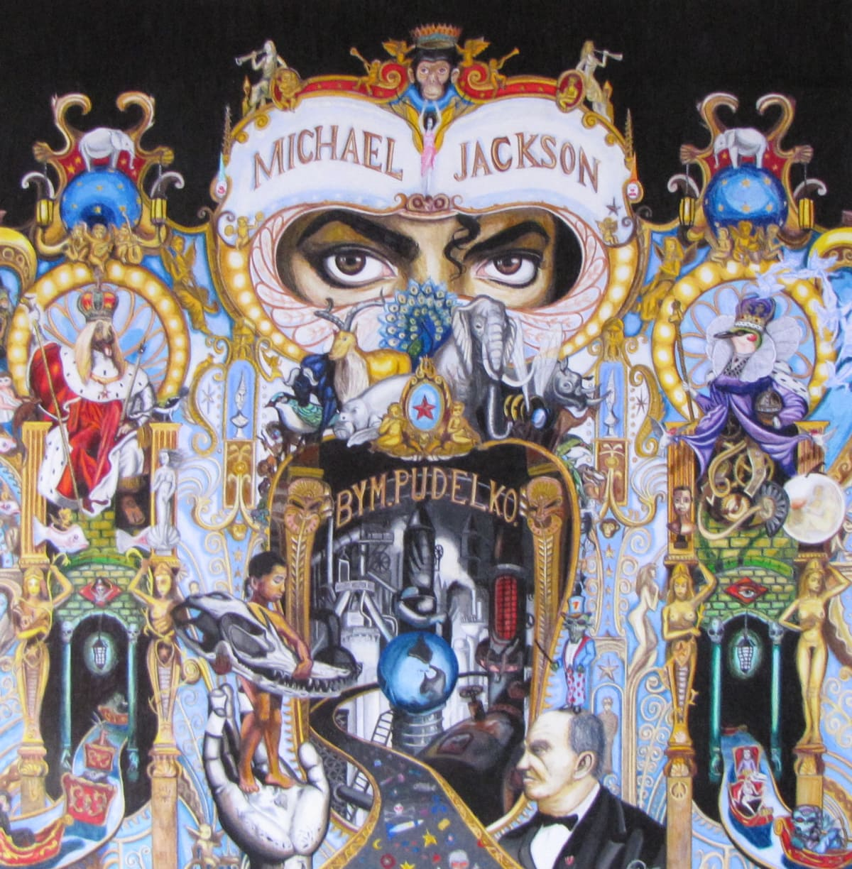 La couverture de l'album Dangerous de Michael Jackson. La pochette est une œuvre d'art composée par Mark Ryden, un célèbre peintre américain, qui se présente sous la forme d'une construction très riche aux influences variées, dans laquelle apparaissent les yeux de Michael Jackson.