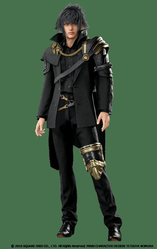 Noctis, un personnage ténébreux dont l'habit de roi implique une pièce métalique articulée autour du genou gauche.