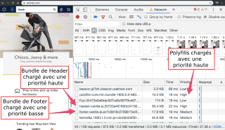 Une capture des outils DevTools ouverts sur Walmart.com, onglet Réseau. On y voit un script de polyfill et un script de header en priorité haute, et un script de footer en priorité basse.