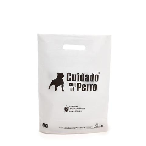 Bolsa de plástico troquelada Cuidado con el Perro.