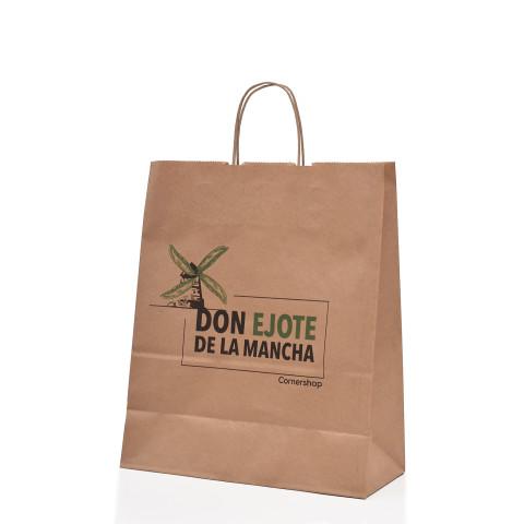 Bolsa Kraft color natural impresa con logotipo Don Ejote.