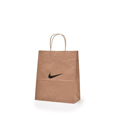 Bolsa de papel tipo Kraft impresa con el logotipo de Nike.