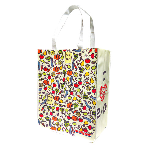 Bolsa reutilizable tipo Non-Woven con diseño impresa a todo color.