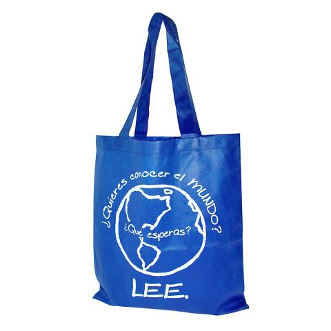 Bolsa reusable tipo Non-Woven color azul con la marca Lee.