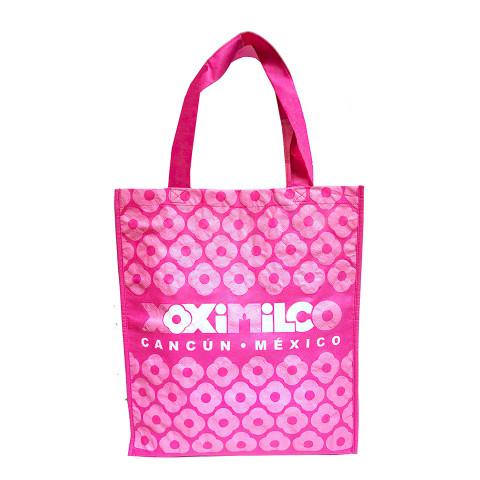 Bolsa tipo Non-Woven reusable rosa con logotipo Xoximilco.
