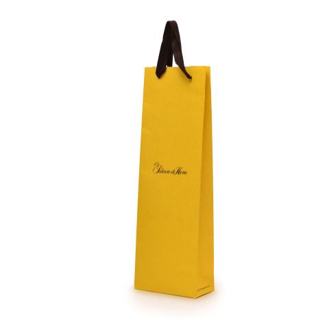 Bolsa para vinos en color amarillo impresa con el logotipo El Palacio de Hierro.