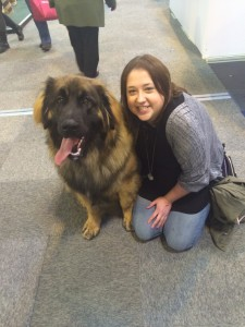 A woman and a big dog at crufts