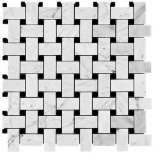 Carrara Marble Mosaic Basketweave