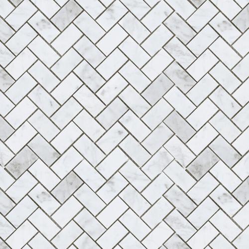 Carrara Marble Mosaic Herringbone