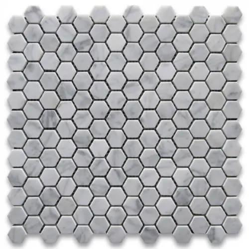 Carrara Marble Mosaic Hexagon