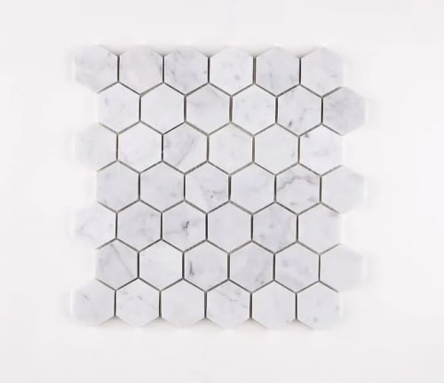 Carrara Marble Mosaic Hexagon Large