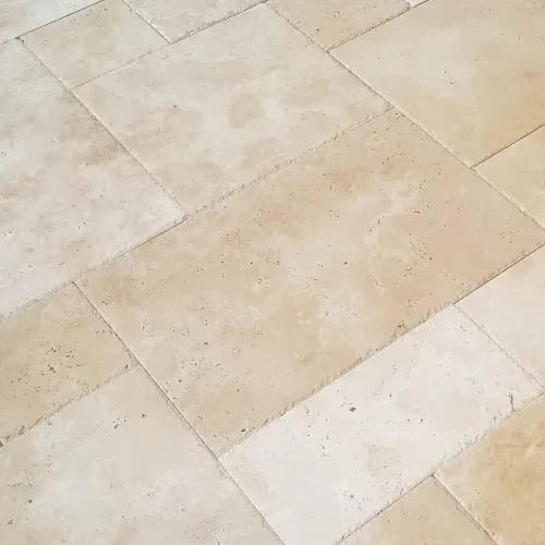 Our handpicked selections of tumbled limestone and chiselled travertine in pattern sets including French, Opus, Roman and Dutch for rustic and worn looks.