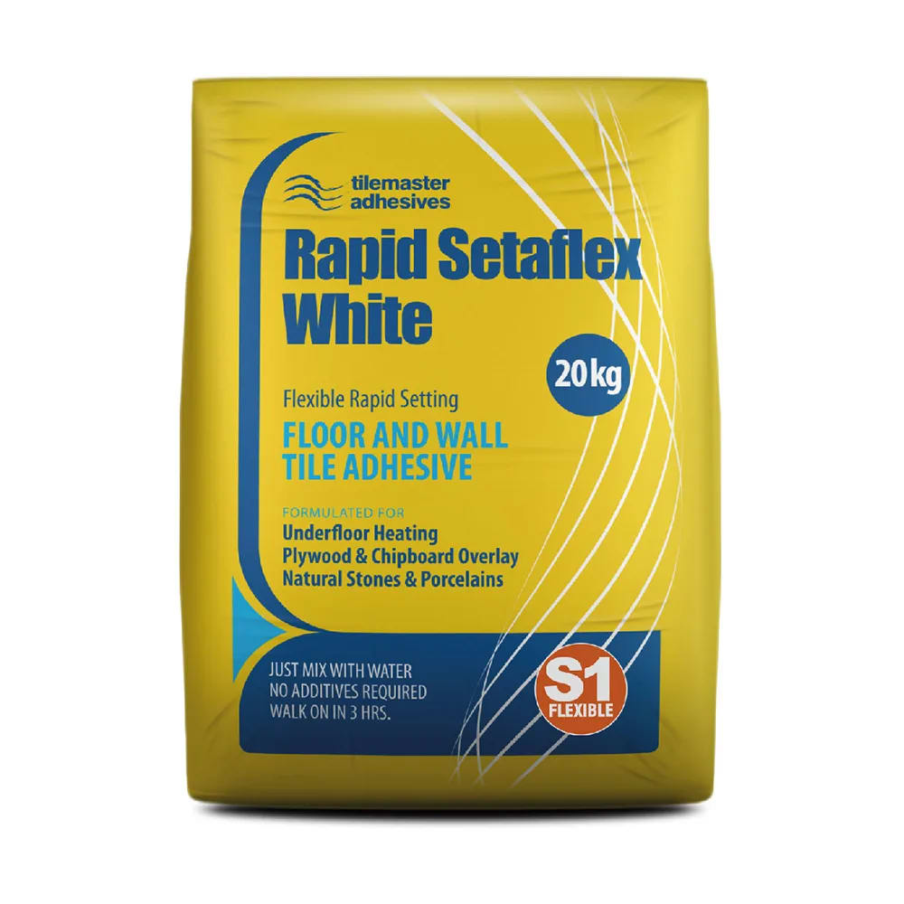 Your tiler needs adhesive for sticking the tiles. Rapid-set for bigger tiles and standard set for smaller tiles. All our adhesives are flexible —perfect for underfloor heating.