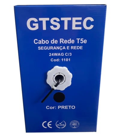 CABO DE REDE CAT5E PRETO 305M 14WAG GTSTEC C/3