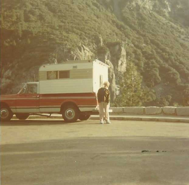 Old photo of truck with a Callen Camper