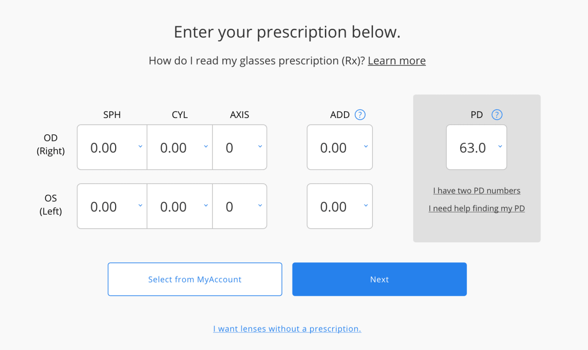 Default prescription UI