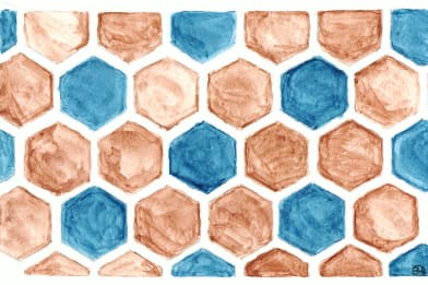 Hexagons Burnt and Blue