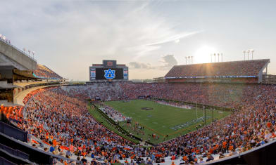 Gameday sunset behind Jordan–Hare Stadium on 2017-9-16