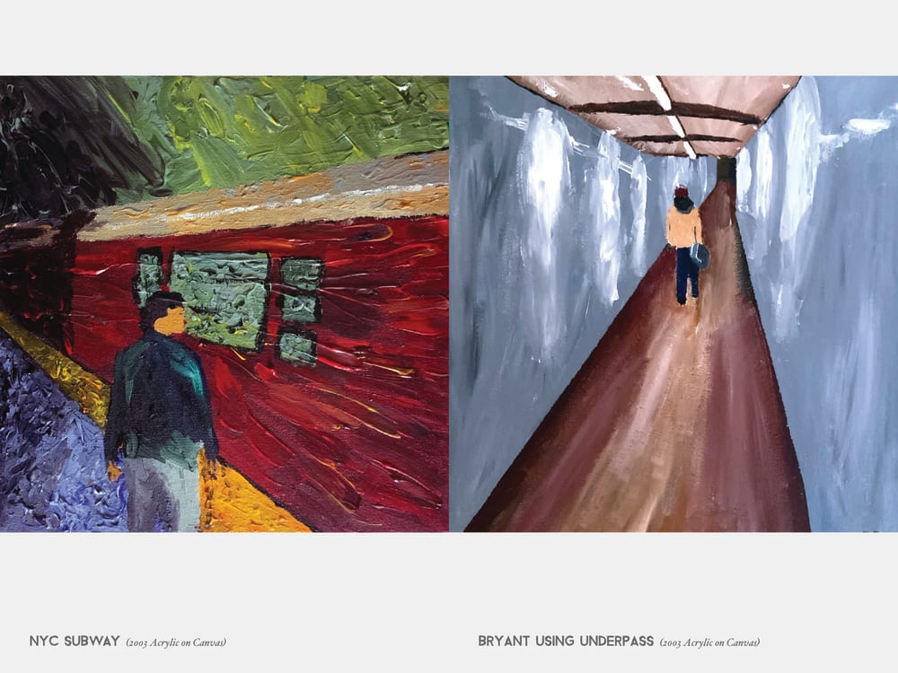 NYC Subway (2003 Acrylic on Canvas) & Bryant Using Underpass (2003 Acrylic on Canvas)