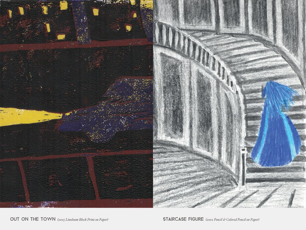 Out On The Town (2003 Linoleum Block Print on Paper) & Staircase Figure (2002 Pencil & Colored Pencil on Paper)