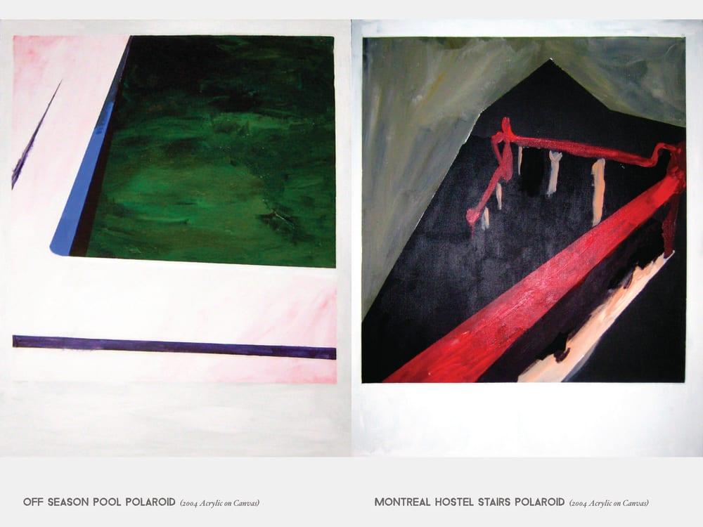 Off Season Pool Polaroid (2004 Acrylic on Canvas) & Montreal Hostel Stairs Polaroid (2004 Acrylic on Canvas)
