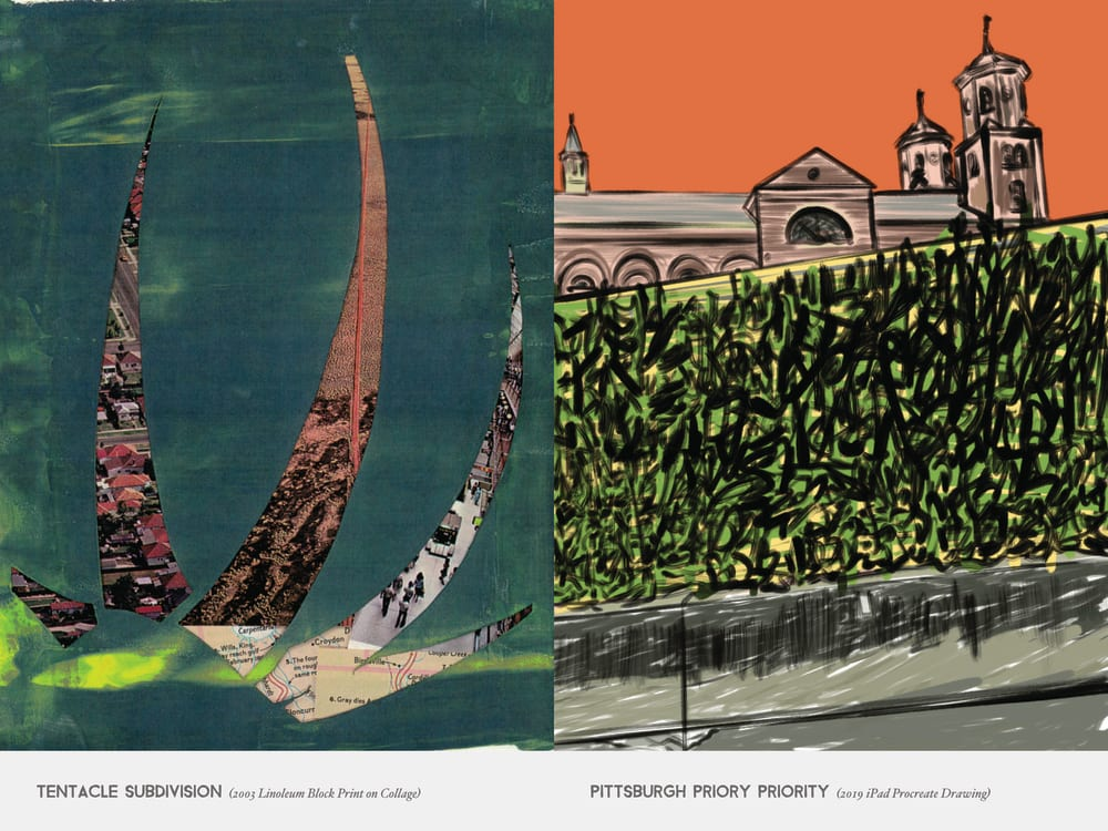 Tentacle Subdivision (2003 Linoleum Block Print on Collage) & Pittsburgh Priory priority (2019 iPad Procreate Drawing)