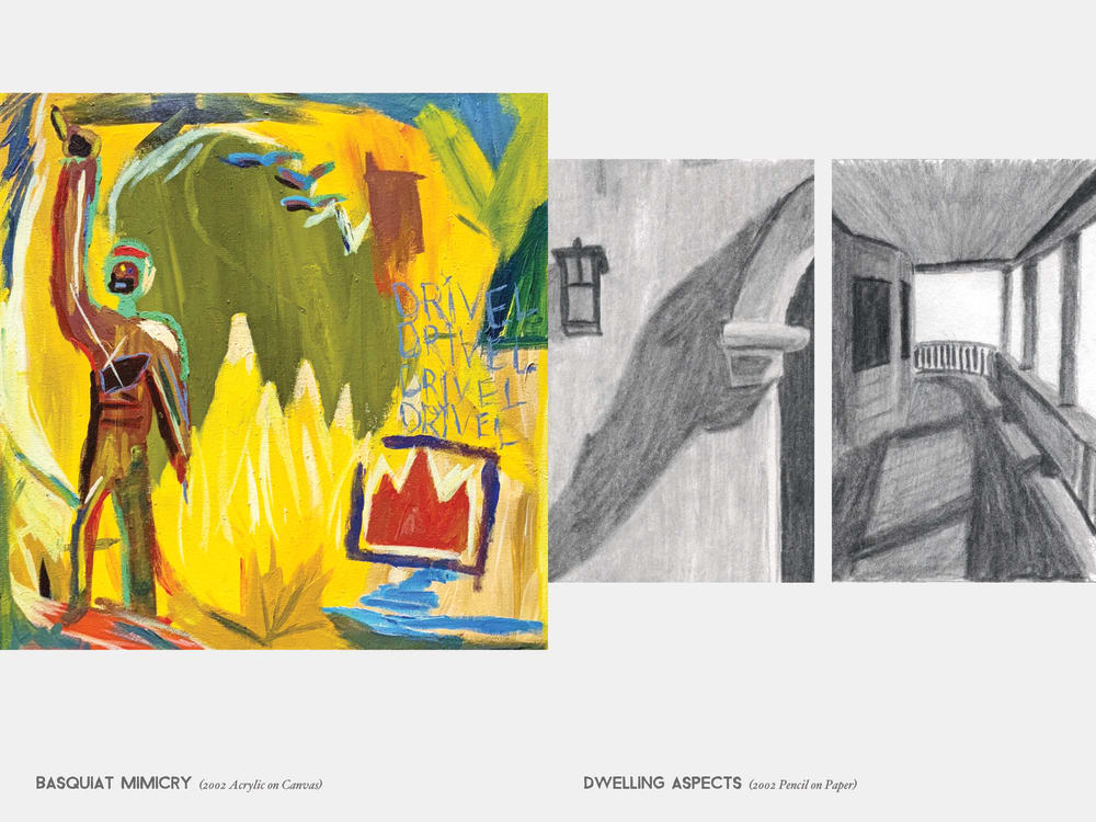 Basquiat Mimicry (2002 Acrylic on Canvas) & Dwelling Aspects (2002 Pencil on Paper)