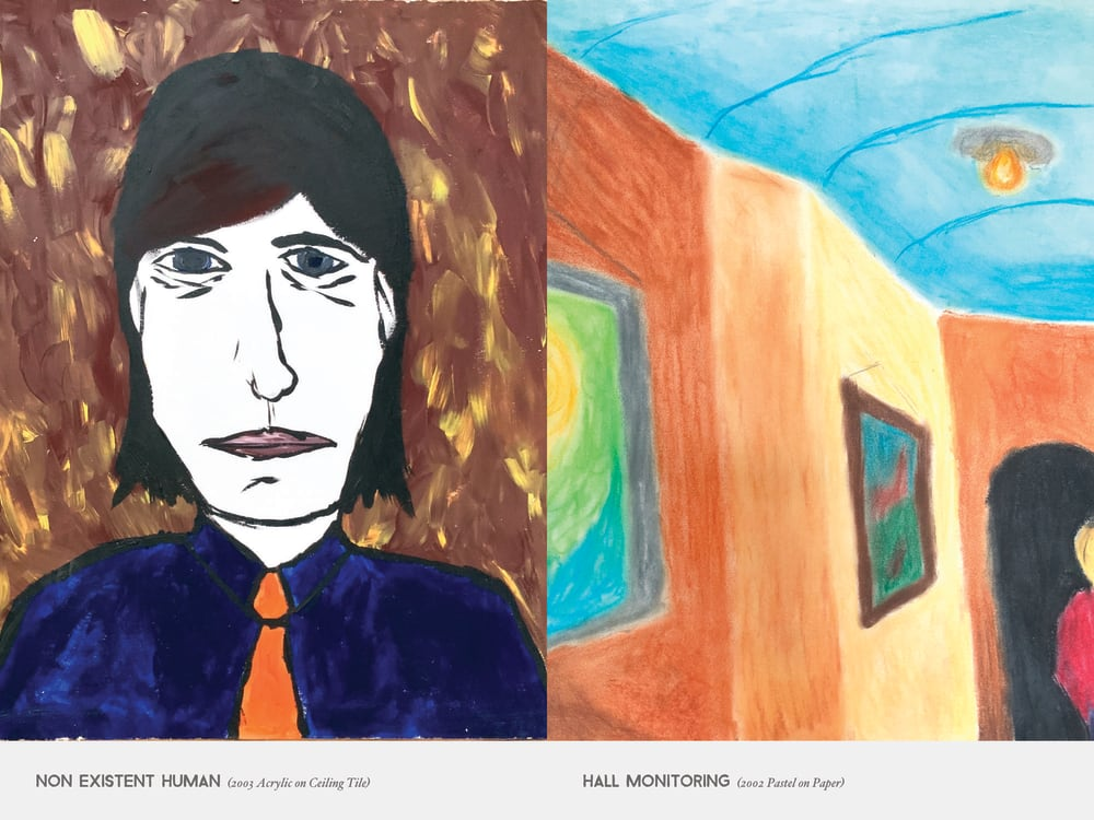 Non Existent Human (2003 Acrylic on Ceiling Tile) & Hall Monitoring (2002 Pastel on Paper)