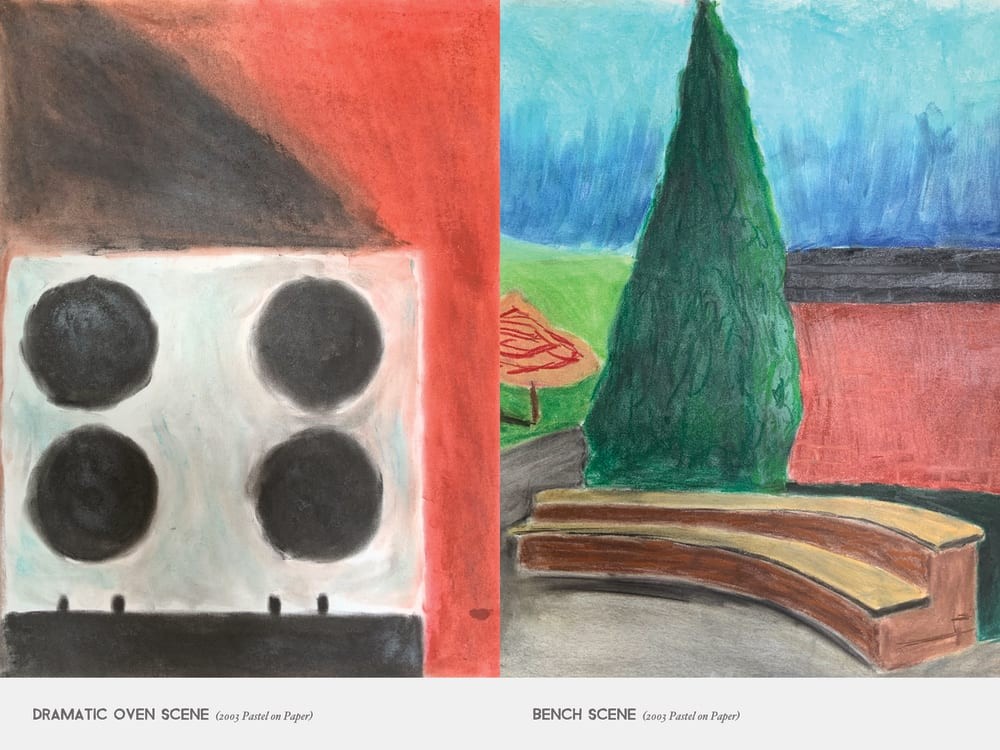 Dramatic Oven Scene (2003 Pastel on Paper) & Bench Scene (2003 Pastel on Paper)