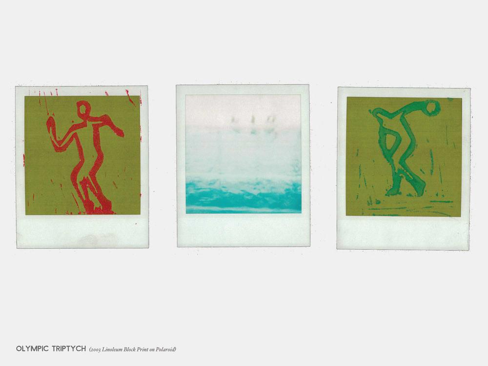Olympic Triptych (2003 Linoleum Block Print on Polaroid)