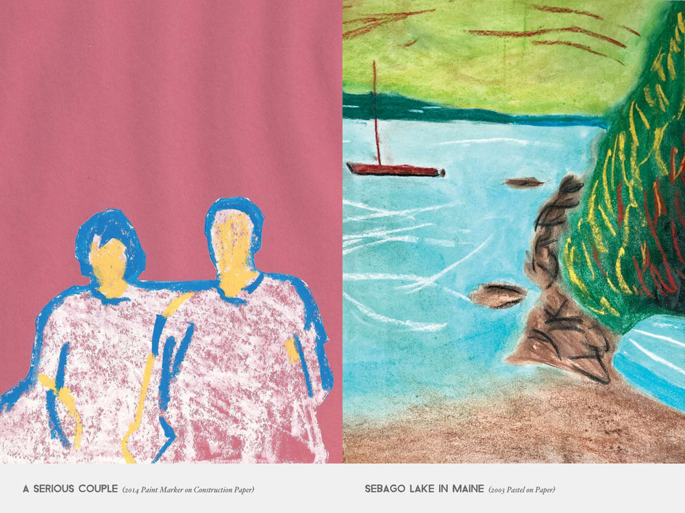 A Serious Couple (2014 Paint Marker on Construction Paper) & Sebago Lake in Maine (2003 Pastel on Paper)