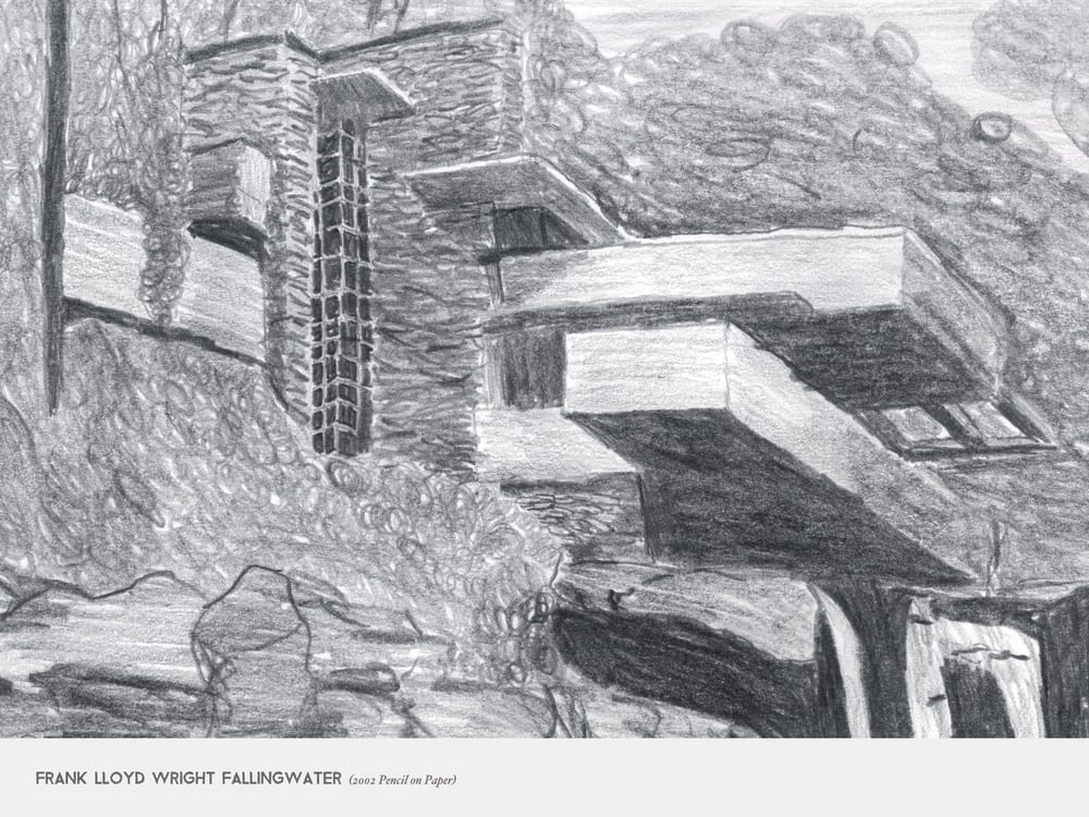 Frank Lloyd Wright Fallingwater (2002 Pencil on Paper)