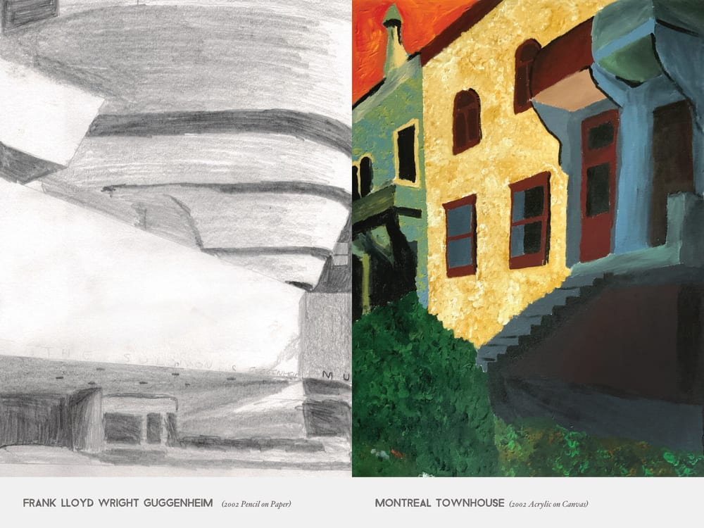 Frank Lloyd Wright Guggenheim  (2002 Pencil on Paper) & Montreal townhouse (2002 Acrylic on Canvas)