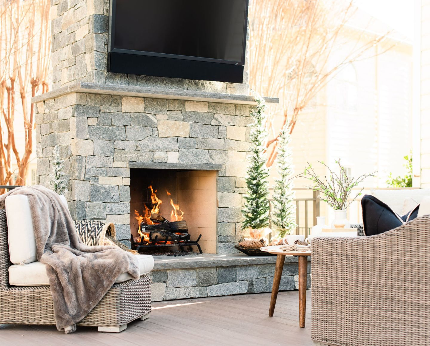 Holiday backyard fireplace and entertainment center