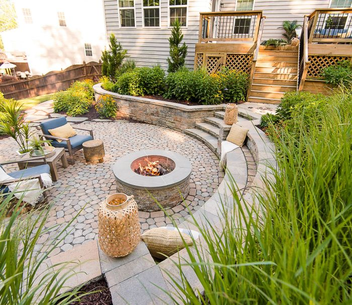 Outdoor living space with retaining walls, patio, fire pit, deck and array of backyard plants