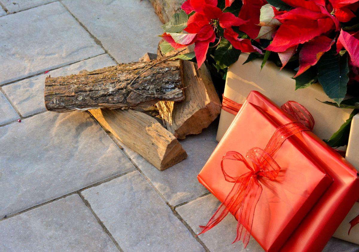 Poinsettias and Christmas presents on a backyard patio