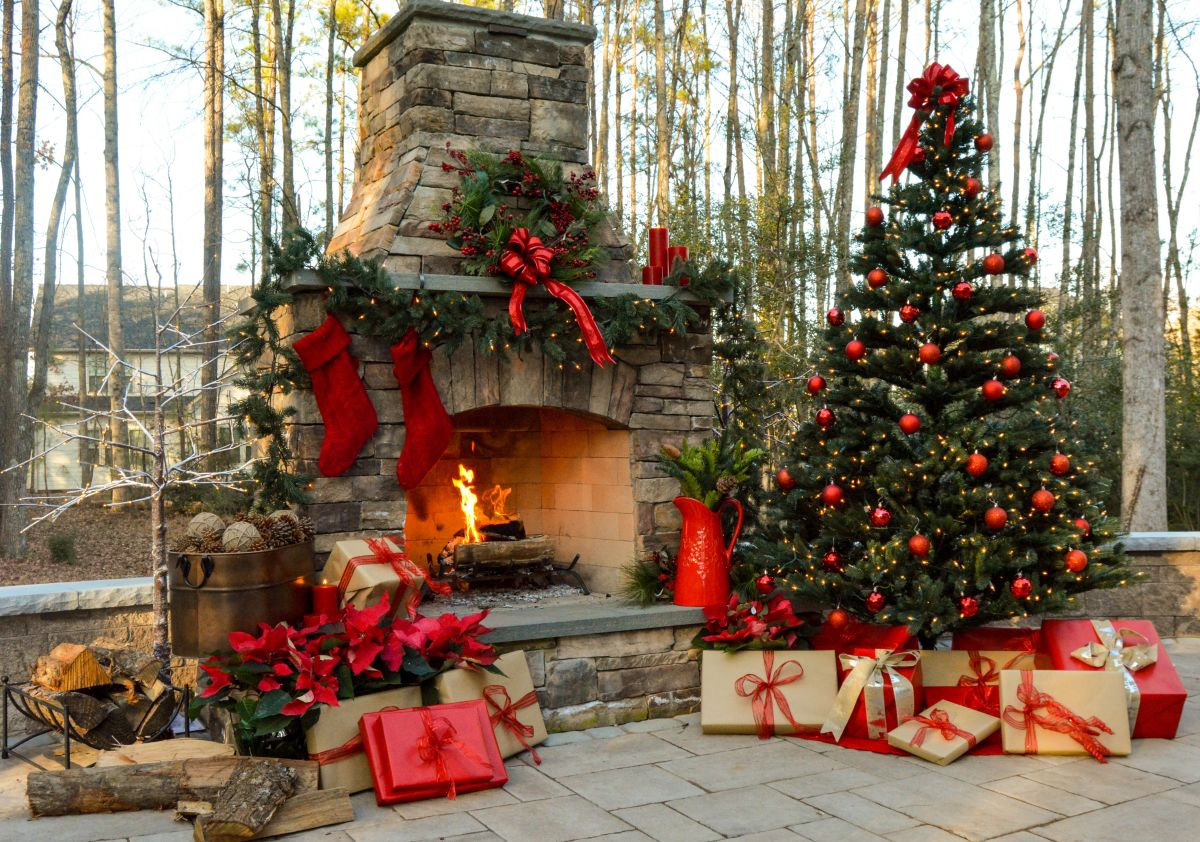 Backyard Patio with Christmas tree and fireplace mantel