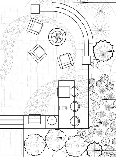 Backyard landscaping blueprint idea