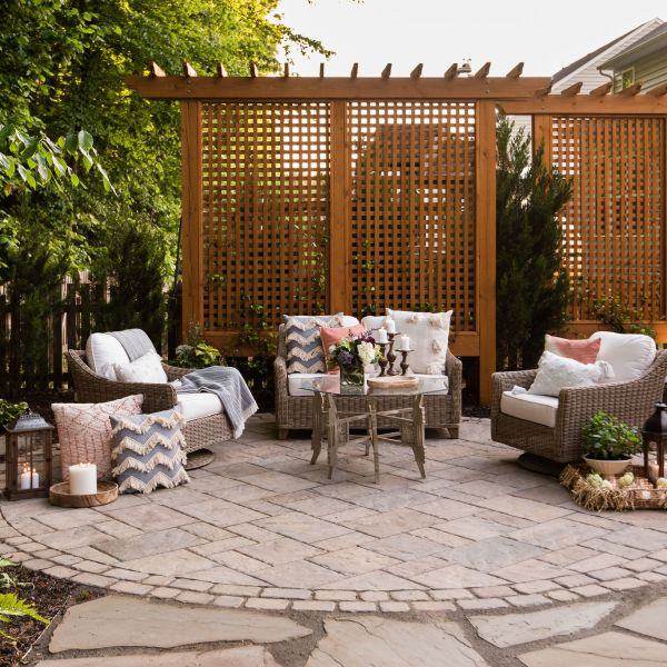 Paver patio with wood lattice privacy screens