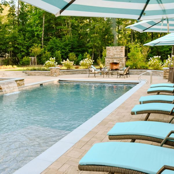 layout by the pool in the Richmond Virginia back yard