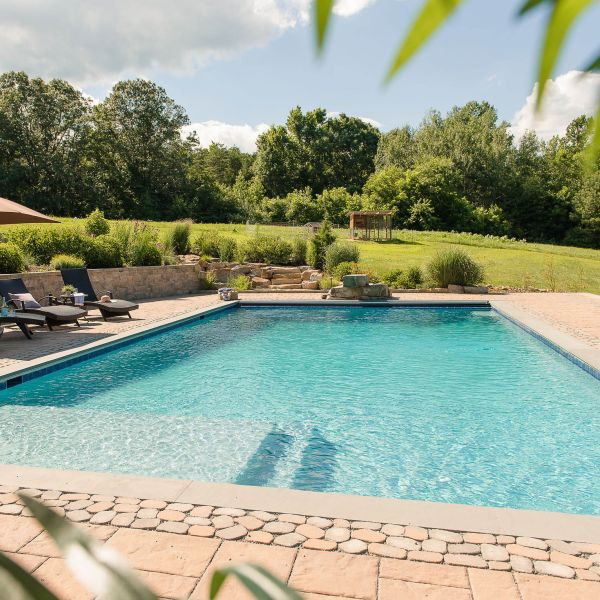 Gunite pool with paver pool decking