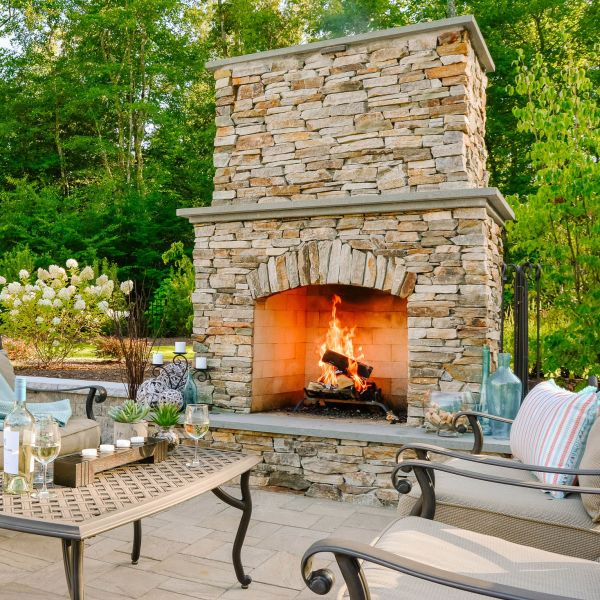 Large Outdoor, stacked veneer fire place