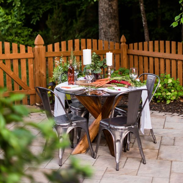 Paver patio with outdoor dining table
