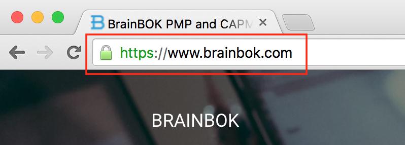 BrainBOK HTTPS SSL - Comforting green padlock on Google Chrome