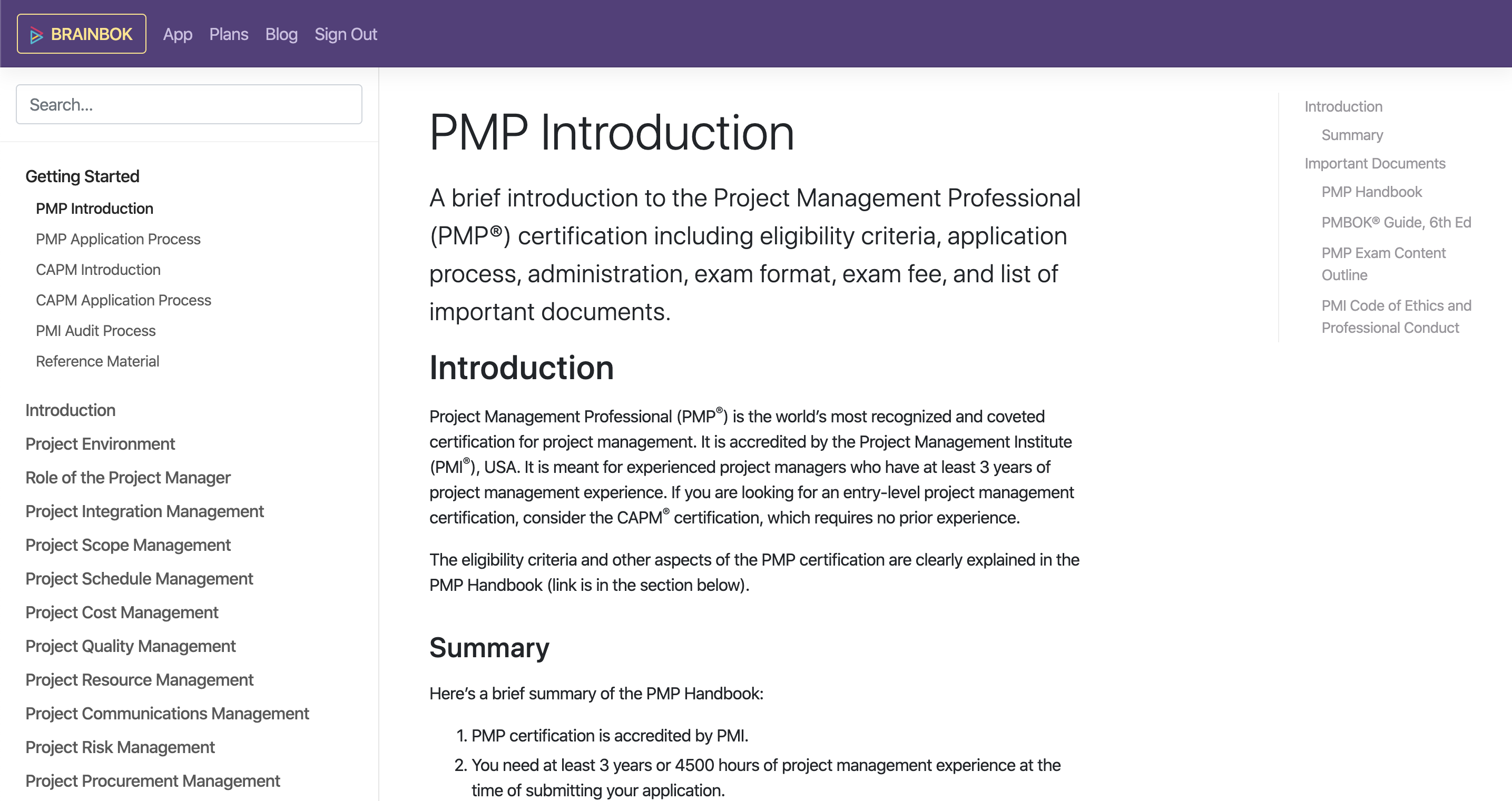 BrainBOK PM Study Guide for PMP and CAPM